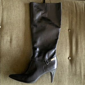 Black Leather Calvin Klein tall boots